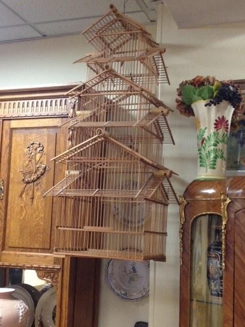 Ancienne cage À oiseaux bambou